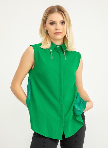 Foremia Arkası Şifon Piliseli Yaka Detay Gömlek Yeşil